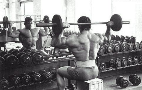 Bodybuildings arnold schwarzeneggers blueprint day 44 arnold shoulder pressing malvernweather Image collections